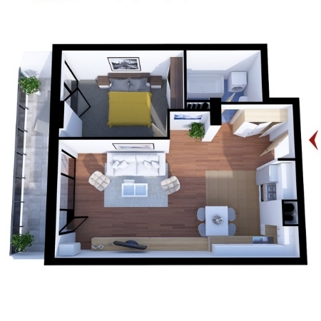 Apartments with 2 rooms B2