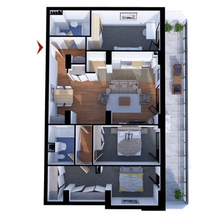 Apartments with 4 rooms B2