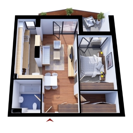 Apartments with 2 rooms C