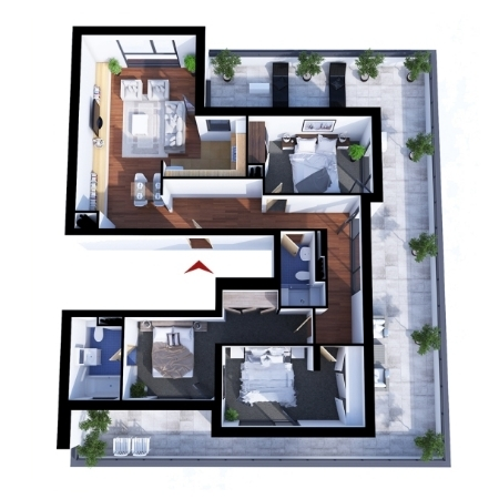 Apartments with 4 rooms C