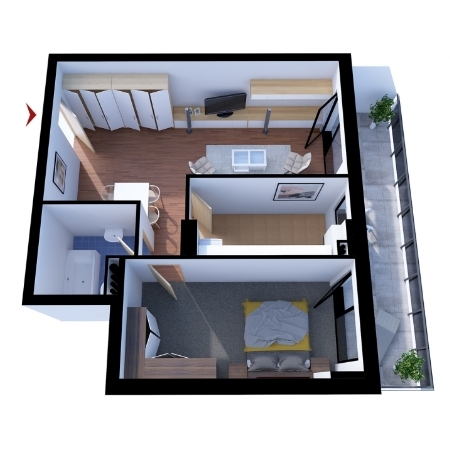 Apartments with 2 rooms B1