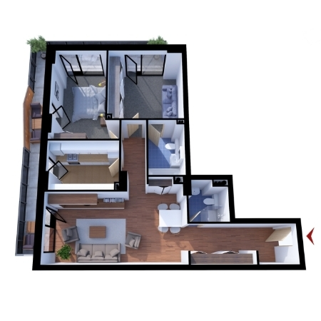 Apartments with 3 rooms B1