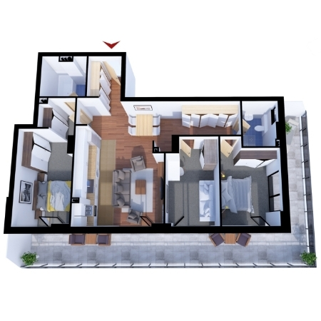 Apartments with 4 rooms B1
