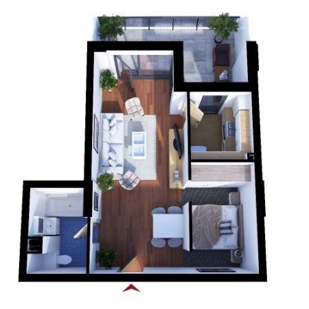 Apartments with 1 room A2