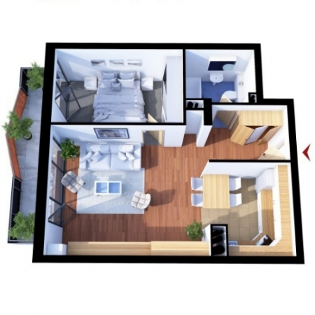 Apartments with 2 rooms A2