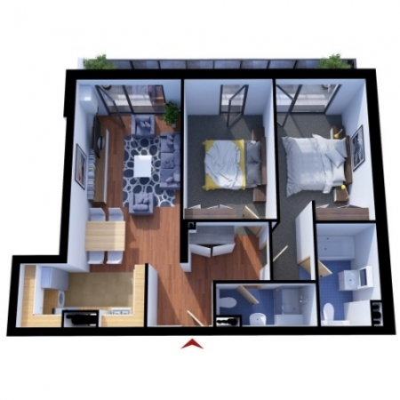 Apartments with 3 rooms A2