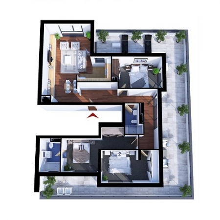 Apartments with 4 rooms A2